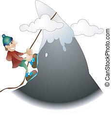 montaña, ilustración, trepador