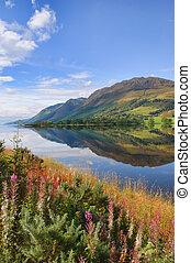 montaña, impresionante, naturaleza, escénico, agua, paisaje