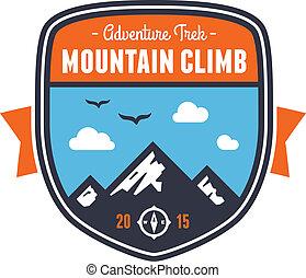 montaña, insignia, emblema, aventura