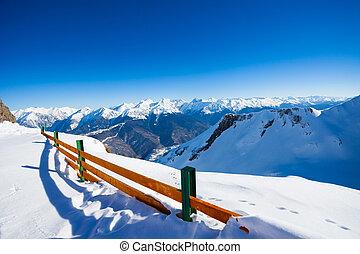 montaña, invierno, cerca, panorama, recurso, esquí