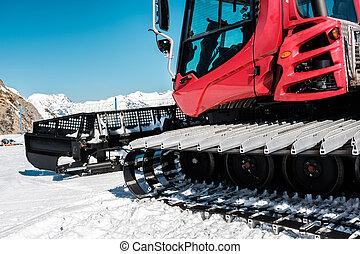 montaña, invierno, paisaje., nieve, máquina, (ratrak)., ...