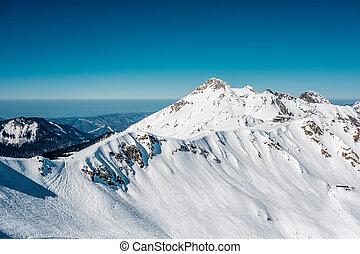 montaña, invierno, paisaje., polyana, krasnaya, sochi, rusia