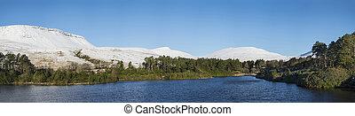 montaña, invierno, panorama, lago, gama, bosque, paisaje