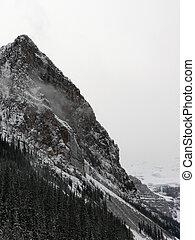 montaña, invierno, pico