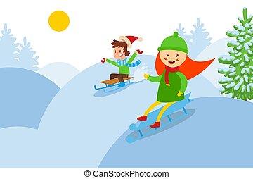 montaña, juego, niños, amigos, carácter, nevoso, cuesta ...