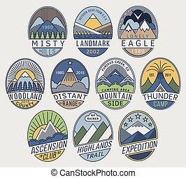montaña, lineal, insignias, 2color