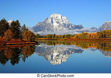 montaña, magnífico, reflexión, teton