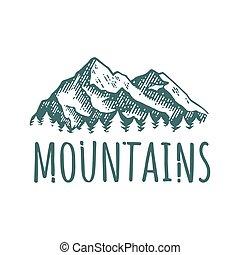 montaña, mano, dibujado, retro, logotype, con, lettering.