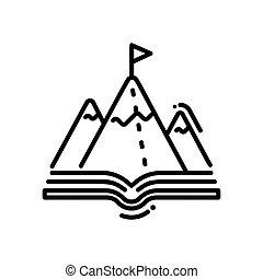 montaña, moderno, -, solo, vector, línea, educación, icono