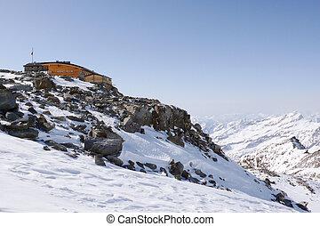 montaña, monte, invierno, rosa, choza, gama, mantova, suiza...