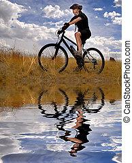 Montaña, mujer,  biking, joven