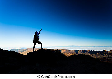 montaña, mujer, silueta, excursionismo, éxito, cima