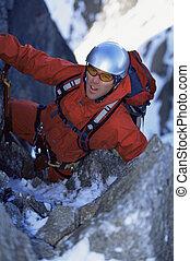 montaña, nevoso, joven, pico, montañismo, hombre