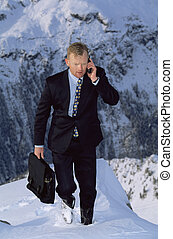 montaña, nevoso, teléfono, hombre de negocios, celular, aire...