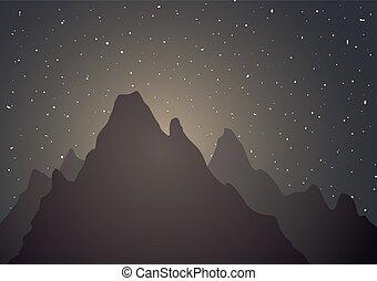 montaña, noche