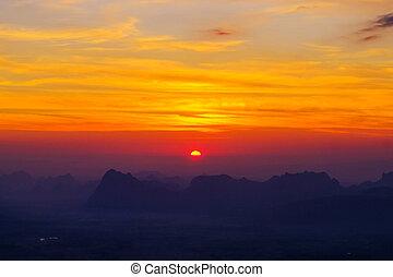 montaña, nok, pha, kradueng, mañana, gama, loei, sunrising,...