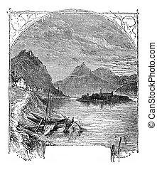 montaña, nonnenwerth, isla, engraving., vendimia, rolandseck