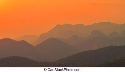 Montaña, ocaso, paisaje