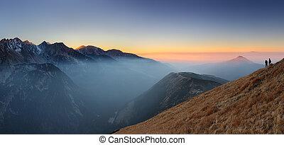 montaña, oeste, hight, rohace, tatra., rayo de sol