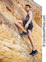 montaña, pared, joven, montañismo, escarpado, hombre