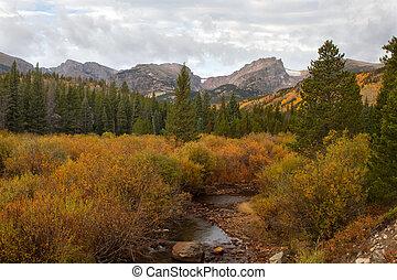 montaña, parque nacional, rocoso, otoño