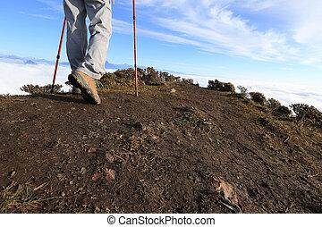 montaña, piernas, excursionismo, éxito, pico
