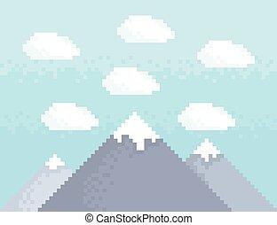 montaña, pixel, arte