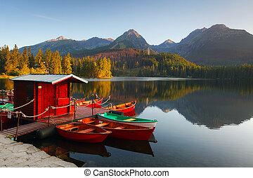 montaña, pleso, -, lago, eslovaquia, tatra, strbske