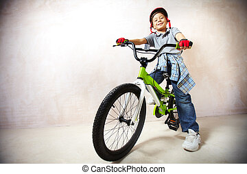 montaña, poco, biker