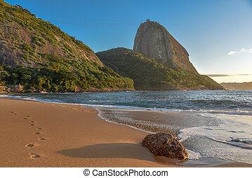 montaña, praia, sugarloaf, vermelha, plano de fondo, playa,...