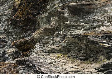 montaña, primer plano, textura, rocas