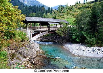 montaña, puente viejo, de madera, baviera, alemania, río, vista