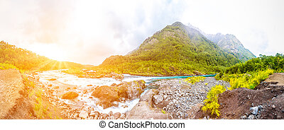 montaña, río, cerca, puerto, varas, chile