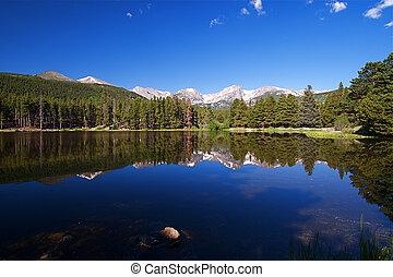 montaña, rocoso, lago