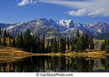 montaña, rocoso, otoño