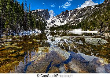 montaña, rocoso, parque nacional, lago, sueño