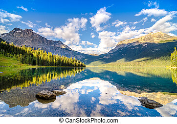 montaña, rocoso, reflexión, lago, agua, gama, esmeralda, ...