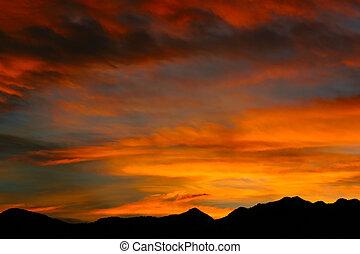 montaña, rocoso, salida del sol