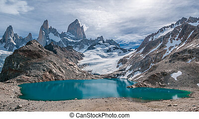 montaña, roy, laguna, de, fitz, tres, argentina, patagonia,...