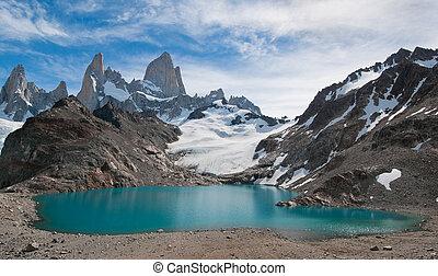 montaña, roy, laguna, de, fitz, tres, argentina, patagonia, los