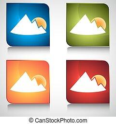 montaña, salida del sol, botón