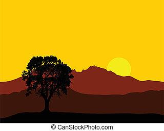 montaña, salida del sol