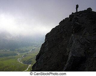 montaña, silueta