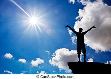 montaña, silueta, elemento, top., god., hombre, adoración, design.