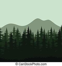 montaña, siluetas, paisaje, seamless, bosque