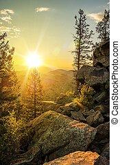 montaña, soleado, rastro