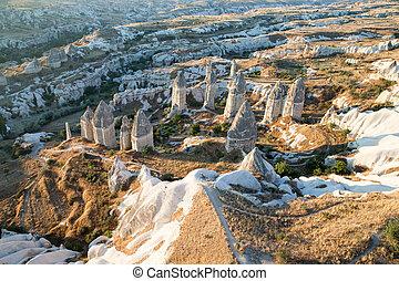 montaña, turkey., cappadocia, anatolia, paisaje.