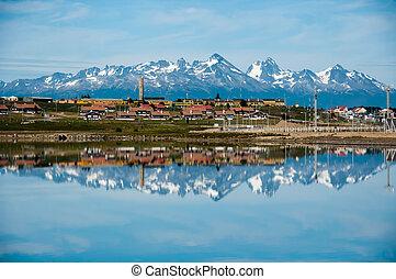 montaña, ushuaia, del, tierra, fuego, reflexiones, argentina