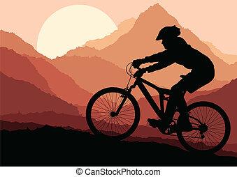 montaña, vector, biking, plano de fondo, cartel