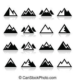 montaña, vector, conjunto, iconos